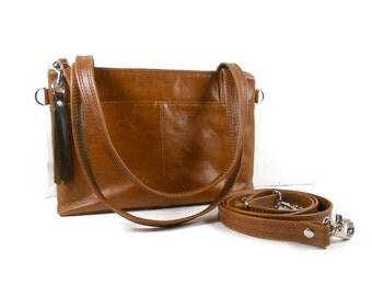 Cognac Leather Shoulder Bag, Brown Leather Crossbody Purse, Satchel Purse, Handmade Leather Purse, Black Leather Handbag, Made in USA