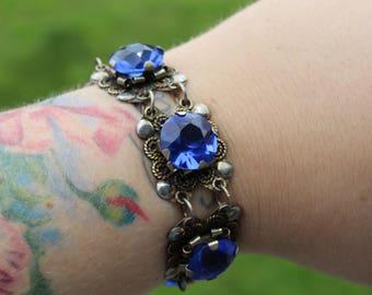 Vintage Sterling Silver Mexican Blue Glass Bracelet Pre-Eagle Petite Size