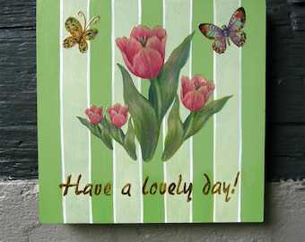 Valentine's Day gift Flowers and butterflies small canvas for home decoration
