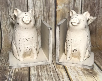 When Pigs Fly Figurines Set of Bookends//Rustic Farmhouse Decor//Primitive Pigs with Wings Statues Set of Book Ends//French County Decor
