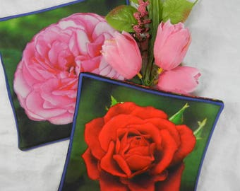 Quilted Trivets (2) - Bright Roses - Red and Pink - Set #3