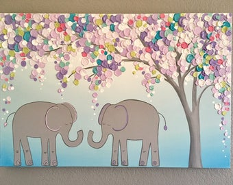 Elephant Art, Acrylic Original Painting, large 24x36, Pink, Gray, Blue, Lavender, and White, made to order