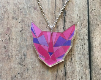 Geometric kitty necklace