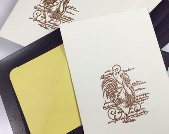 french rooster cards in purple and yellow