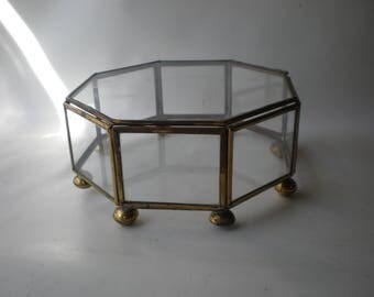 Classic Octagonal Brass and Glass Display Case/ Jewelry Box