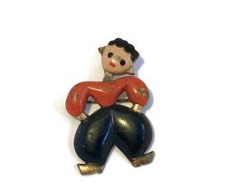 1940s Enamel Boy Pin