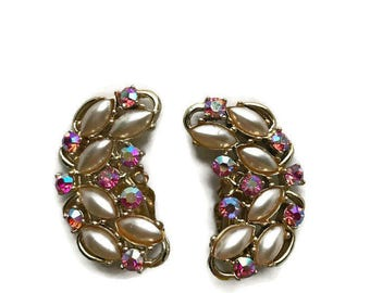 Vintage Ear Climber Clip on Earrings with Pink Iridescent Rhinestones and Pearled Cabaochons