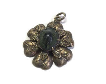 Antique Victorian Real Genuine Scarab Brass Hearts Pendant