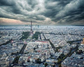 Paris Rooftops and the Eiffel Tower Stormy Skies - 8x10 Fine Art, Print Paris Decor, Paris Print, Travel Photo Paris Decor Print