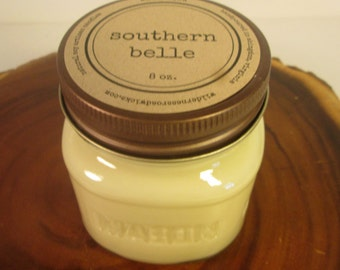 Southern Belle 8 oz Soy Mason Jar Candle // Wood Wick // Spring/Summer/Floral Scent