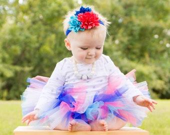 Bright baby tutu and flower headband set, blue and pink tutu, baby tutu, tutu photo prop, blue tutu, baby tutu, toddler tutu, birthday tutu