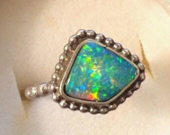 FALL SALE Fiery opal sterling silver ring ooak