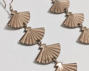 fan drop earrings w/ gold-filled ear hook