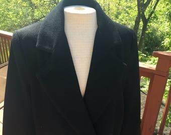 Black winter coat, Long coat, Warm coat, Vintage Women's coat, Doublebreasted coat.  Size 8 wool coat
