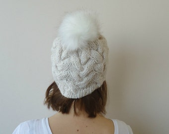 Hand Knitted Cabled Slouchy Beanie- hat ,CREAM cabled beanie HAT ,fur pompom