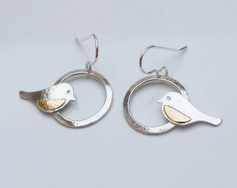 Sterling Silver 925 Robin Earrings with 9ct Rose Gold wing