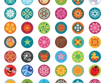 Flower bottle cap images, bottlecap images, one inch circles, mandala bottlecaps, royalty-free, digital collage sheet,   Digital Download