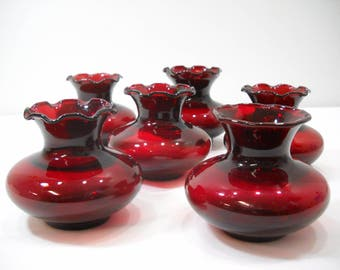Lot Of 6 Vintage Anchor Hocking Royal Ruby Red Ruffle Top Vase 3-1/4""