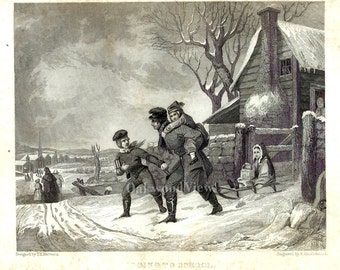 Going to School Print, Father & Children, Winter Snow, Antique Victorian 6x9 1849 Art Engraving, FREE SHIPPING