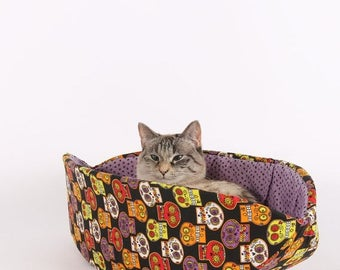 Spring Sale Halloween Pet Bed in Sugar Skulls and Spiders fabric - the Cat Canoe