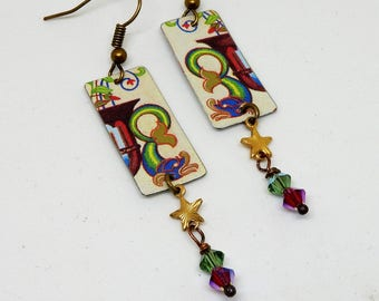 Tin Earrings, Floral Tin Earrings, Vintage Tin Earrings, Repurposed Tin Earrings, Recycled Tin, Boho Earrings, Hippie Earrings