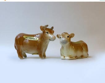 ON SALE Vintage 1960's collectable Japanese porcelain hand painted cow pepper and salt shakers