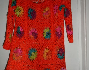 Crochet granny square orange tangerine multicolour flowers gipsy hippie boho 3/4 sleeves sweater OOAK Ready to ship!