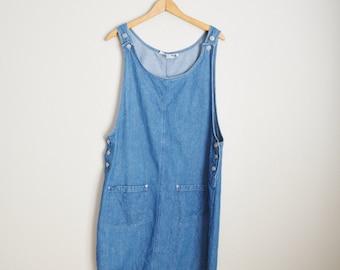 Vintage 90s Denim Jean Overall Dungree Mini Dress // womens large