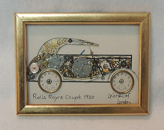 Vintage Automobile 1971 Horological Watch Parts Collage By L. Kersh.. 1930 Rolls Royce Coup