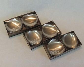 6 Vintage Mid-Century Brushed Stainless Stelton Denmark Candle Holder-Ashtray-Dish