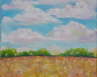 Landscape painting, Original Oil, Clouds and Country field, wildflowers, sunny summer sky, field of flowers, fine art wall decor canvas
