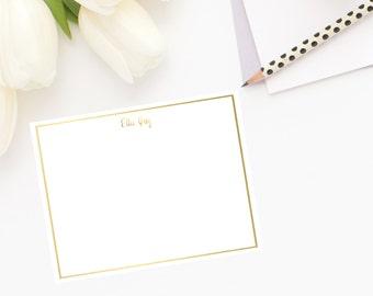 Gold Foil Frame Flat Note Cards