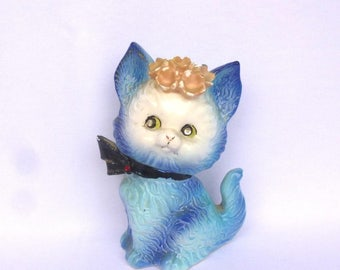 Vintage Baby BLUE KITTY FIGURINE
