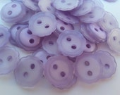"20 Light Purple Cupped Flower Round Buttons Size 1/2""."