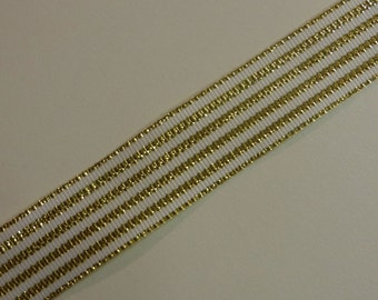White and Gold Striped Ribbon 4 Yards