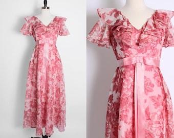 vintage pink floral maxi dress/ flowy maxi dress/ boho bohemian bridesmaid/ festival dress/ pink flowers/ ruffle neckline/ romantic/ 70s