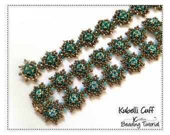 Beading Pattern Beading Tutorial Embellished RAW Interchangeable Cuff Handmade Jewelry Beadweaving Instructions Downloadable Pattern KUBELLI