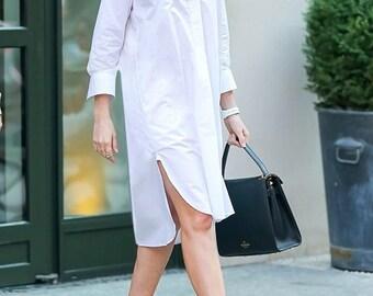 White cotton shirt dress Plus size designer dress Button up shirt for women Long shirt Unique womens clothing Collared sleeve shirt dress