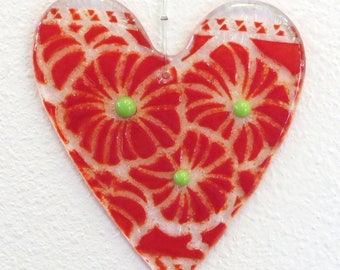 Red and Clear Iridescent Heart Ornament #358 with Green Accents