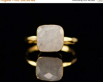 40 OFF - White Moonstone Ring - June Birthstone Ring - Gemstone Ring - Gold Ring - Bezel Set Ring