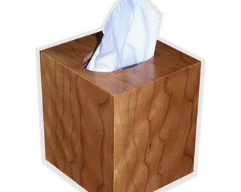 Tissue box cover cube square botique size fits Kleenex and Puffs boxes in American Cherry figured wood veneer