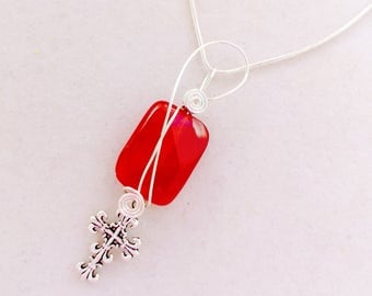 Christian Carelian Gemstone and Cross Pendant Necklace Jewelry Acceessory, Christian Jewelry