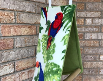 Bird Tent with Perch, Tropical Bird warm Olive Green Fleece inside.  For any larger Parrots.
