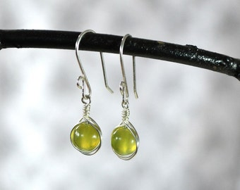 Jade Earrings, Serpentine Earrings, Wrapped Stone Earrings, Jade Jewelry