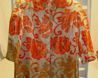 Vintage Silk Oriental Kimono Jacket, Orange and Gold Floral Motif, Sz Med - Large