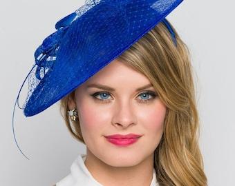 """Royal Blue Fascinator Hat - """"Wendy"""" Wide Slightly brimmed mesh Fascinator Hat on a Headband"""