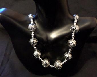 bright silver iron filigree nacklace