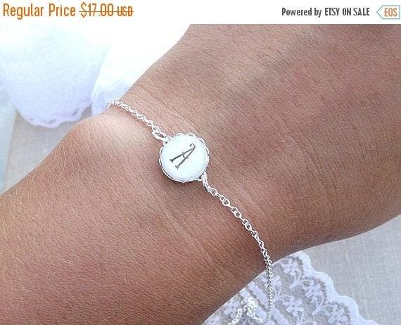 Initial Bracelet Monogram Initial Bracelet Tiny By -4077