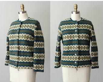 25% OFF SALE / 1960s vintage sweater / Nordic wool knit cardigan / Jersey Modeller / large
