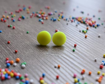 Neon yellow, 12mm studs, polymer clay, handmade, fluro, 80s, costume, gift idea, hypoallergenic, party, radical